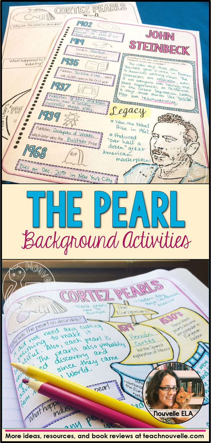 Introduce your study of The Pearl by John Steinbeck with these doodle notes: anticipation and background activities. You get a biographical activity on John Steinbeck and a non-fiction activity about Cortez Pearls. These activities use two videos and two articles (found for free online) and can be used with Interactive Notebooks or as traditional worksheets. You can do this as a whole class or as a station activity. (grades 7-10)