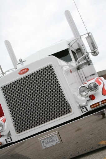 Peterbilt- This is a great ride! Red and white is a super combo and the flames put it over the top!