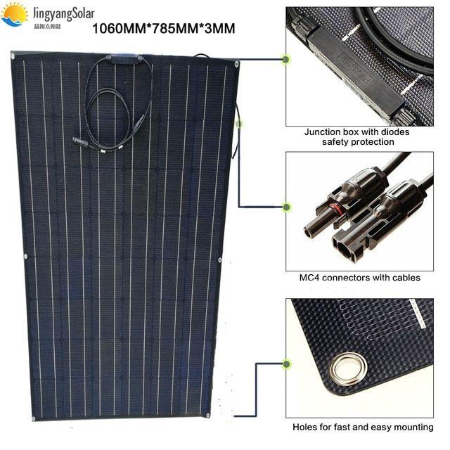 Black 150w Flexible Solar Panel Solar Module 24v Semi Etfe Film Panel Solar For Battery Charger System Kit Review Solar Panels Solar Heating Best Solar Panels