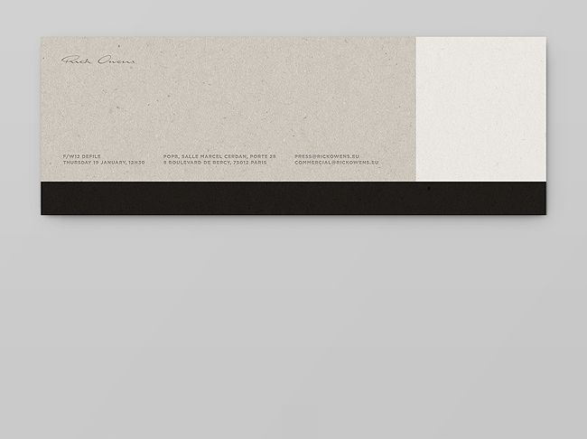 rick owens cartons d'invitation by notter + vigne.