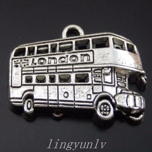 24 Pieces Vintage Silver Alloy RV Bus Charms Pendants Fashion Jewelry 50097