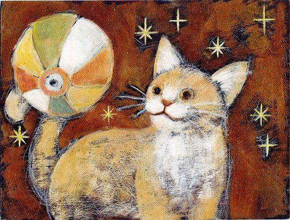作品サイズ 21×16センチ紙風船と たわむる子猫。額装はありませんが 裏に仮の吊り金具(ステンレス)をおつけします。コルクをはさんで 短いねじで...|ハンドメイド、手作り、手仕事品の通販・販売・購入ならCreema。