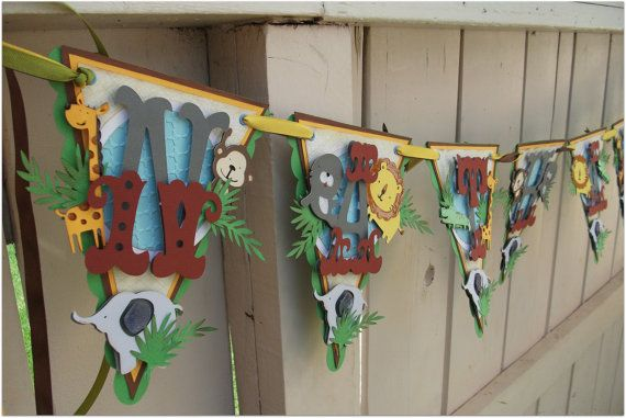 Safari Animals Handmade Pennnant Banner  Custom by nadyasworld, $45.00