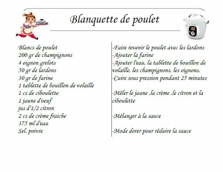 Blanquette poulet cookeo pinterest - Recette de noel au cookeo ...
