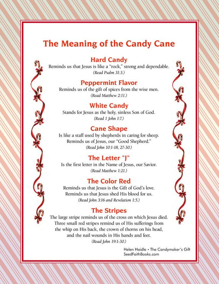 Printable visual of the meaning of the candy cane - $.99 download.The Legend of the Candy Cane - Candymaker's Gift is the story of how a special visitor...