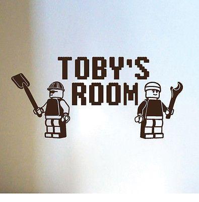 aangepaste naam lego jongens slaapkamer muur sticker sticker verwijderbare sticker home decor kunst aan de muur stickers geïndividualiseerd