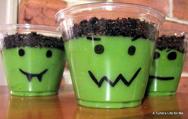 So cute for Halloween.  Draw a face onto a clear cup. Add green food coloring to vanilla pudding and crush oreos on top! Yummy and fun!