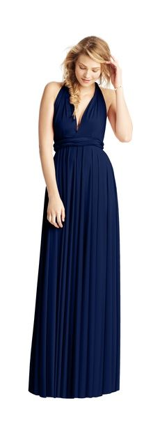 twobirds Classic gown in Sapphire.  The classic collection consists of one dress with over 15 ways to wrap so that women of all shapes and sizes can look and feel beautiful. Whether styled as the One Shoulder or the Grecian Twist, wear the twobirds Classic gown to flatter your body type. Then...wrap it differently to wear again for a night on the town! #somethingblue Shop the look: http://twobirdsbridesmaid.com/collection/classic/?color=34&wrap=2