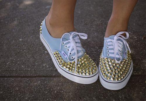 c-lassyFashion, Spikes, Style, Blue, Studs Sneakers, Diy, Studs Shoes, Studs Vans, Vans Sho