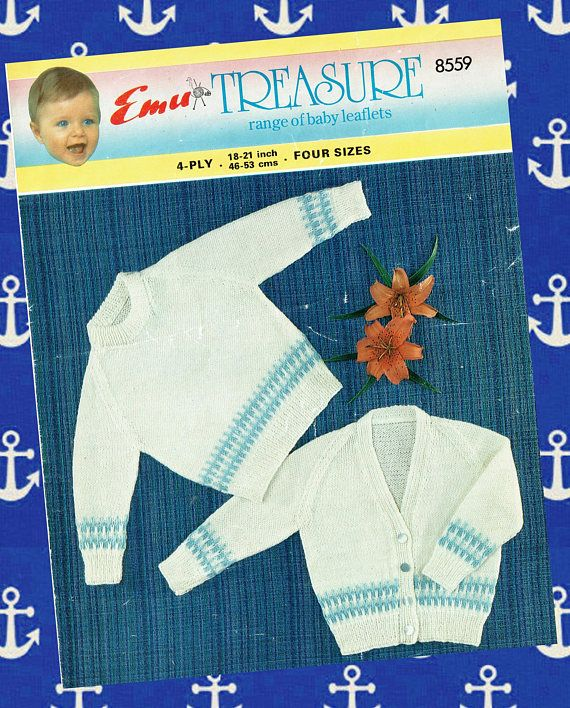 Original Vintage Baby Sailor Knitting Pattern Nautical Emu