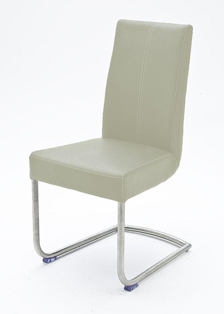 2 Freischwinger Esszimmerstuhl Stühle Weiß 5362. Buy now at https://www.moebel-wohnbar.de/freischwinger-2er-set-flairy-ii-esszimmerstuehle-leder-weiss-5362.html