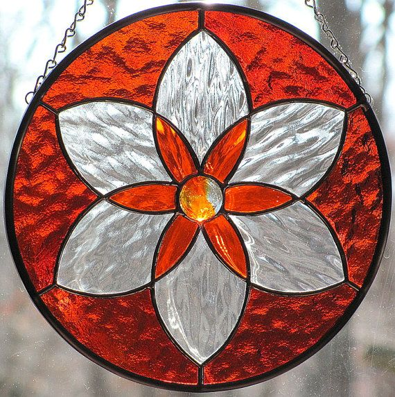 Orange+Stained+Glass+Six+Pointed+Star+Mandala+by+LivingGlassArt,+$45.00