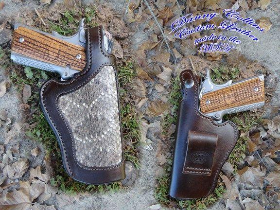 Rattlesnake 1911 Holster, 1911 Holster, Snake Skin Holster, Gun Leather, Leather Holster, Thumb Break Holster by DannyCollinsLeather on Etsy