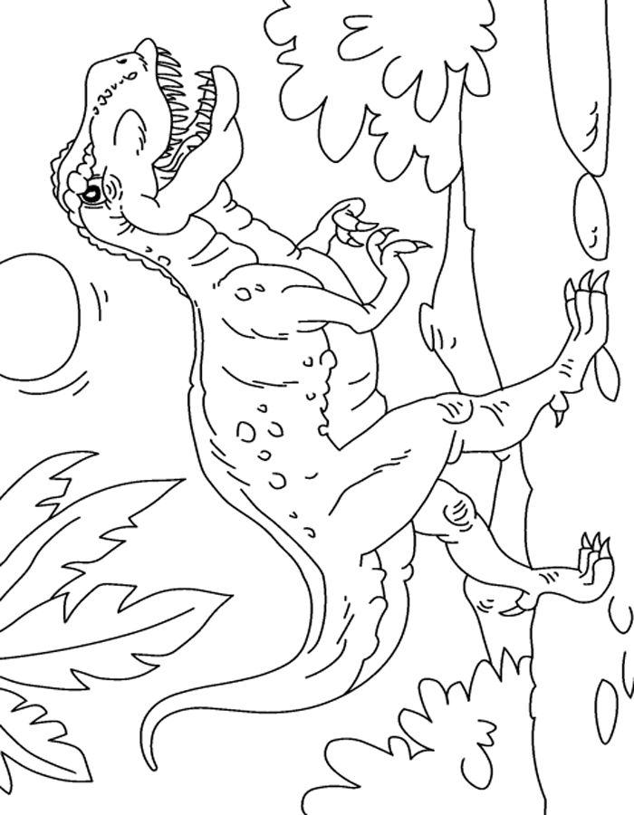 Dibujo colorear Tiranosaurio Rex escena