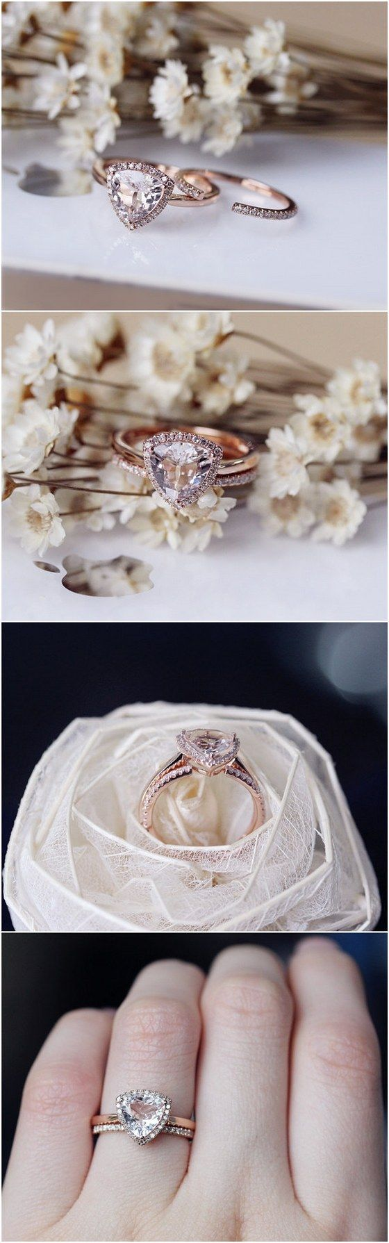 Trillion Morganite Ring Set Solid 14K Rose Gold Morganite Engagement Ring Set Wedding Ring Set Bridal Ring Set / http://www.deerpearlflowers.com/engagement-rings-from-etsy/