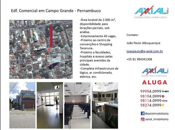 2.000 m² de ABL. Próximo ao Centro de Convenções, Shopping Tacaruna. Amplo Estacionamento. Infraestrutura (eletrica, lógica, facilities) completa.