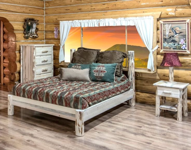 Amish Log Bedroom Set Rustic Cabin Bed Dresser And Nightstand
