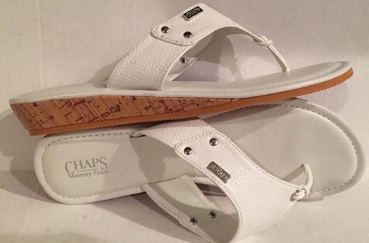 Women's CHAPS Size (L) 9-10 Memory Foam White Flip Flop Sandal Shoes CH922 NEW  | eBay