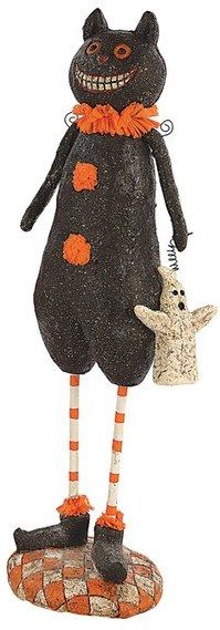 festively dressed figurines adorned in glitter provide a fanciful addition to your halloween dcor x paper pulp by creative co op - Glitter Halloween Decorations