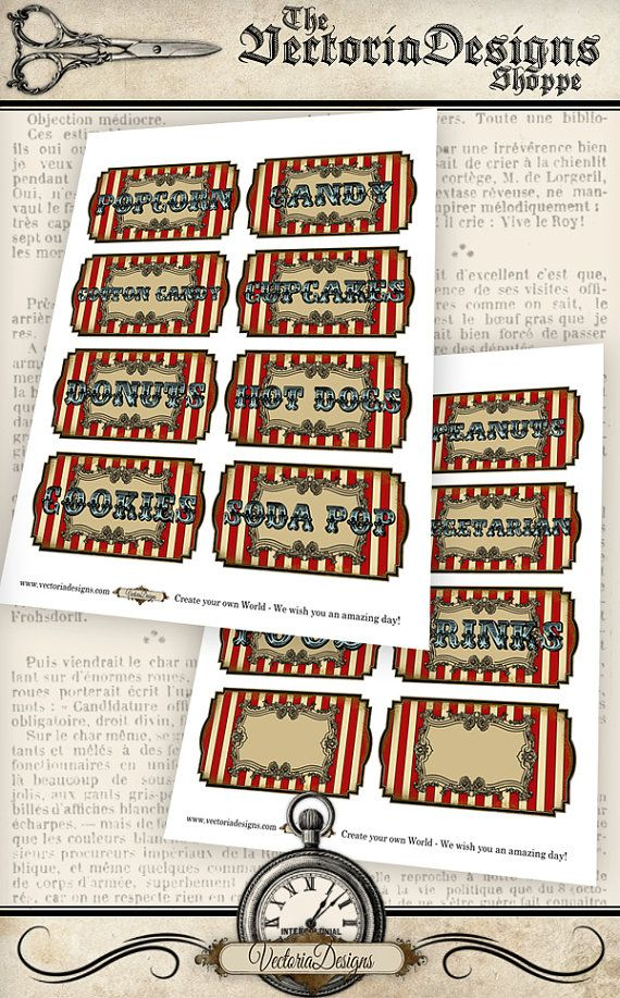 Circus Food Labels VDLACI0931 by VectoriaDesigns on Etsy