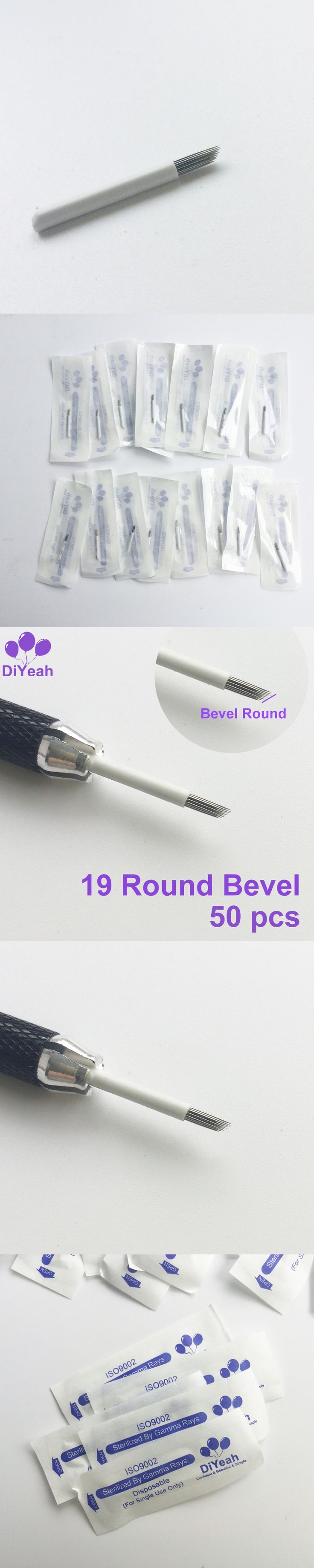 50pcs 19 Round Bevel Needles for Manual Pen Semi Permanent Makeup Fog Pen Needle R19 Microblading Eyebrow Tattoo 3D Blades Tatoo