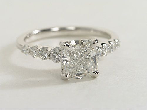 Graduated Side Stone Diamond Engagement Ring in 14k White Gold | #Engagement #Ring #Wedding #Jewelry