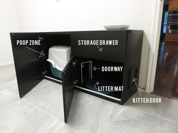 Turn a Bestå shelf unit into a a luxurious bathroom for your cat. | 33 Unexpected Things You Can Make With Ikea Products