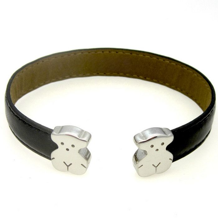 Stainless Steel Gold Sliver Teddy Bear Black Leather Women Girls CuffBracelet Bangle(1PC)