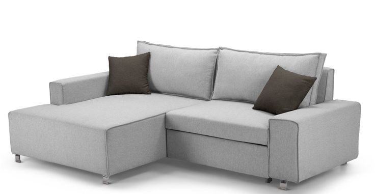 Mayne Left Hand Facing Corner Sofa Bed, Clear Grey Stone | made.com