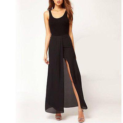 Fashion Sexy Womens Lady Open Side Split Dress Solid Chiffon Long Maxi Skirt M