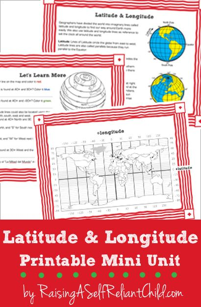 Free printable mini unit latitude and longitude for kids 8-10