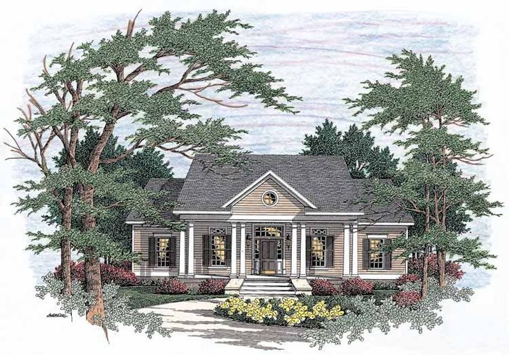 Greek revival house plan with 1955 square feet and 3 for One story greek revival house plans