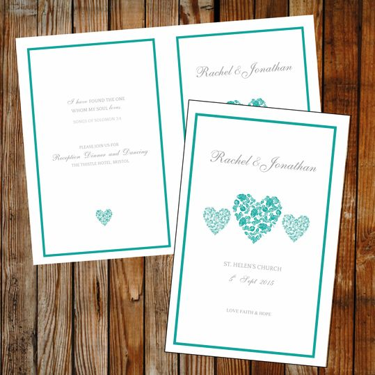 DIY wedding program, teal Trio of hearts. Instant download - simply edit and print. View the full collection.