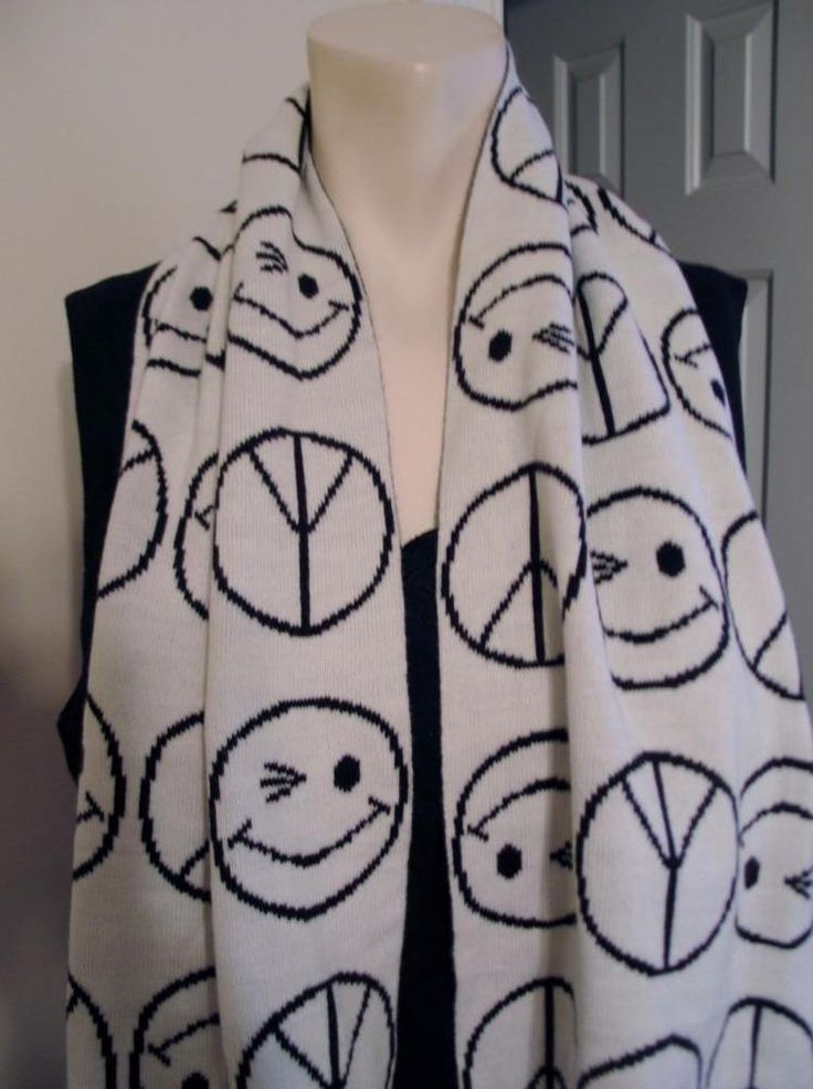 Peace Signs Emoji Winking Face Acrylic Scarf by Joe Boxer Black & White Oblong #JoeBoxer #Scarf #casual