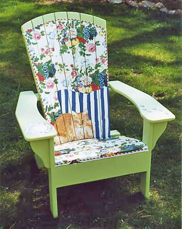 """lovely hand-painted chair - painted by Judy Metcalfe as part of a community - wide event """"Chairs For Children""""  to benefit Pathways for Children in Gloucester, Massachusetts: Paintings Furniture, Wood, Pattern, Cute Ideas, Issues Angel, Furniture Community"""