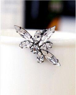 Роскошь искусственный кристалл драгоценный камень серьги-клипсы для женщины, Винтажный цветок клип серьги ювелирные изделия, Xe053