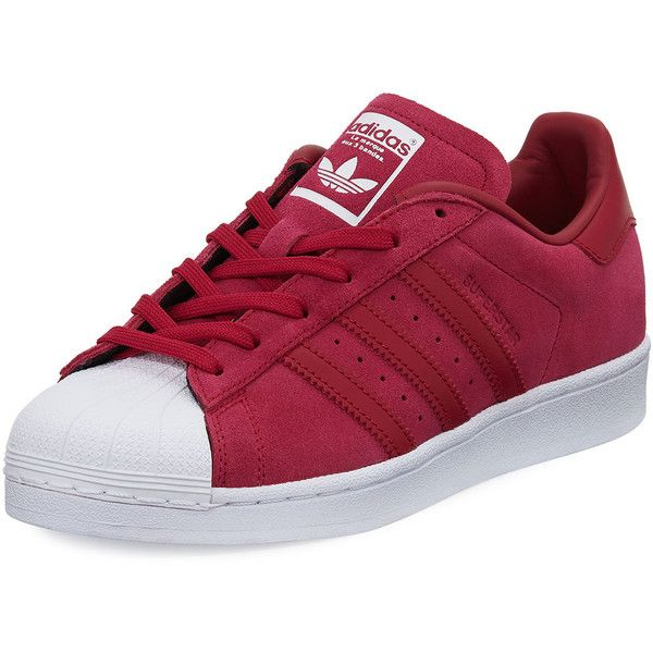 Adidas Superstar Original Suede Sneaker (1.350 ARS) ❤ liked on Polyvore featuring shoes, sneakers, pink, pink suede shoes, flat sneakers, pink sneakers, suede shoes and lace up sneakers
