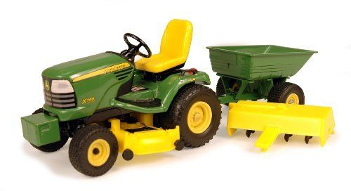 John Deere - 1:16 X748 Lawn Tractor With Cart by Rc2. $26.76. Removable mower deck. Durable die cast construction. Pull behind dump cart. Steerable front axle activated by the steering wheel. Rear tiller. From the Manufacturer                Officially licensed by John Deere, this 1:16 replica features durable die cast construction, a steerable front axle activated by the steering wheel, and a removable mower deck, rear tiller, and pull behind dump cart. Together, this se...
