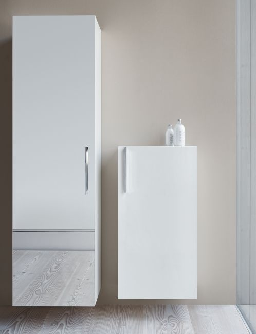 Pictures In Gallery Duravit Vero Tall Double Door Mirror Cabinet Low Cabinet in High Gloss White