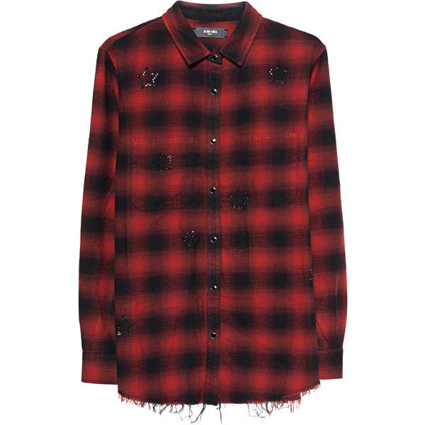 Amiri Crystal Plaid Red // Flannel shirt with rhinestones ($1,075) ❤ liked on Polyvore featuring tops, red plaid shirt, star shirt, sparkly shirts, red shirt and flannel shirt