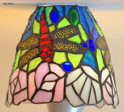 """Handcrafted Tiffany Style Stained Glass Dragonfly Lamp Shade 5.5"""" Sagaofluck"""