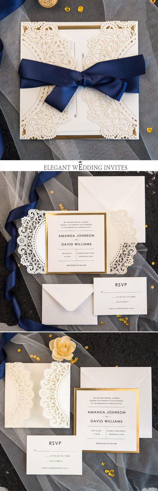 Luxury Laser Cut Wedding Invitations with Navy