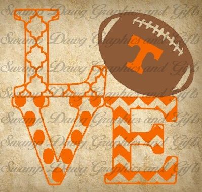 Tennessee Vols Love cut file, silhouette, circut, svg, football, nfl, college, school, little league, sports, quatrefoil, chevron