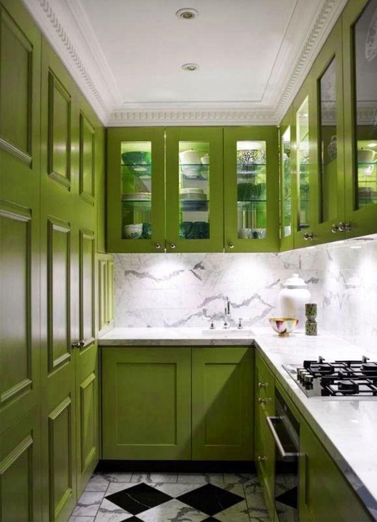 Cuisine verte mur meubles lectrom nager blog d co for Kitchen design 8 x 5