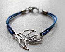 Leather Swallow Bracelet, Swallow Bird Bracelet, Leather Bracelet, Blue Leather Bracelet