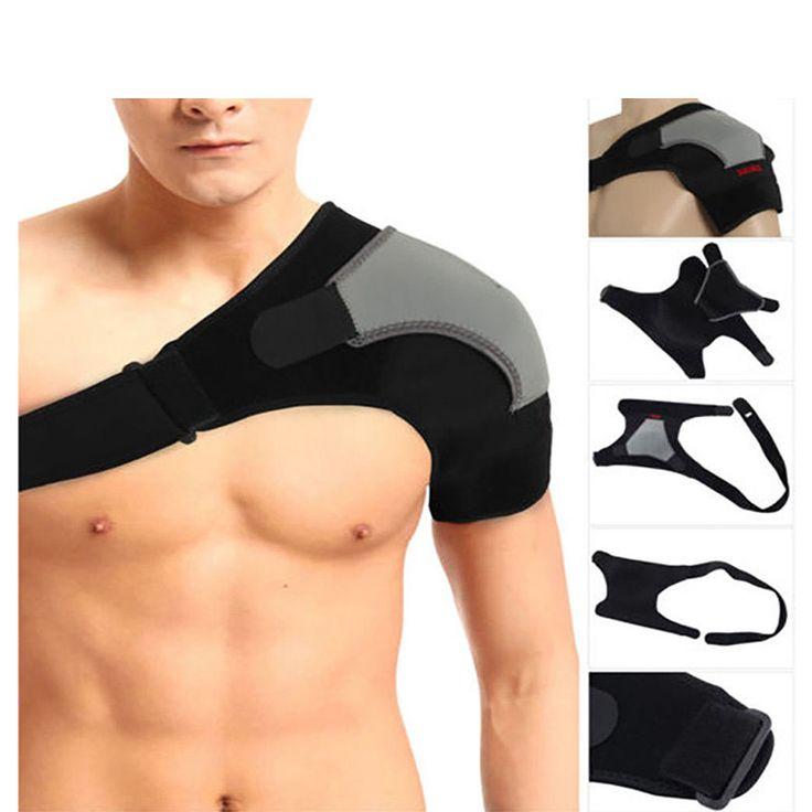 Adjustable Breathable Gym Sports Care Single Shoulder Support Back Brace Guard Strap Wrap Belt Band Pads Black Bandage Men&Women #Affiliate