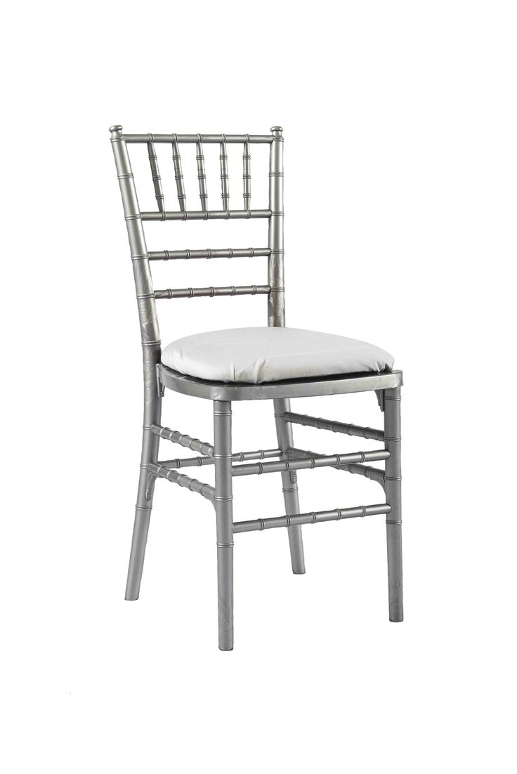 Silver Chivari chair with White Seat Pad, Is a modern design stackable eco-friendly resin chair, shown here with a White seat pad but is also available in various coloured seat pads. http://www.eventhireonline.co.uk/chairs/chivari