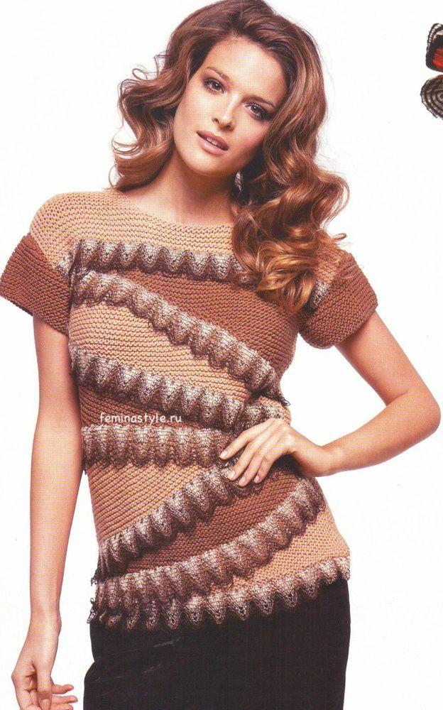 Пуловер с воланами спицами this might be knit? but I like it