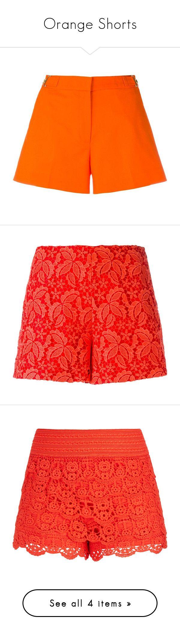 """Orange Shorts"" by stylish-sparkles ❤ liked on Polyvore featuring shorts, orange, mid rise shorts, michael michael kors, orange shorts, red, red shorts, giamba, lacy shorts and lace shorts"