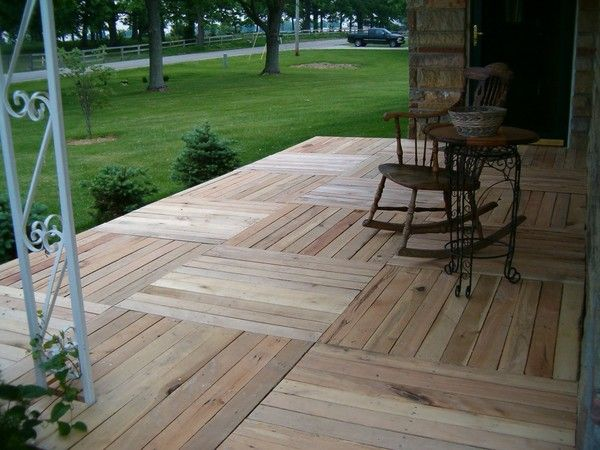 before and after: pallet-wood front porch